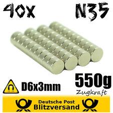 40x Neodym Magnet Scheibe D6x3mm - Postkartenmagnet Magnetset Zaubermagnete