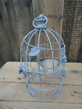 Grey Metal Hanging Bird Cage Candle Tea Light Holder Flowers B1