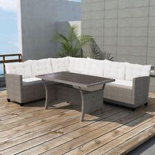 VidaXL Garden Corner Sofa Set 12 Piece Poly Rattan Wicker Gray Sunbed  Lounger