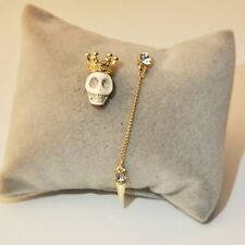 Long Skull Women Crown Stud Earrings Jewlry Asymmetrical