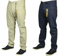 Mens New King Size Straight Leg Stretch Chinos Jeans In Navy Stone Colours 42-60