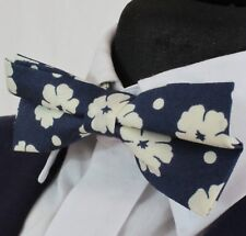 Bow Tie. Dark Blue with White floral. Cotton . Premium Quality. Pre-Tied. BV100
