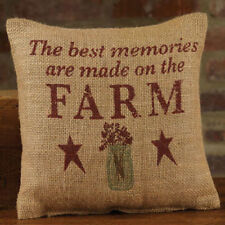 """The Best Memories are Made on the FARM 8"""" x 8"""" Jute Burlap Pillow Sign"""