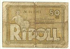 GUERRA CIVIL (NOTGELD) RIPOLL. 50 CÉNTIMOS DE 1937 (RC+)