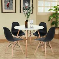Esstisch mit 4 Stühlen Weiß/Schwarz 80x75cm Tisch Stühle Essgruppe Küchenstuhl