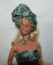 Blonde Barbie In Ooak Turquoise Sequined Outfit