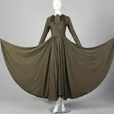 XS Geoffrey Beene Bohemian Autumn Day Dress Long Sleeve Maxi Huge Sweep VTG 70s