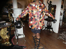 Rare Stylish patchwork leather Coat Jacket M-L