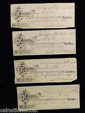 1890's Receipts for payment- Hanford, CA- Hall Rental, Piano- 4 total