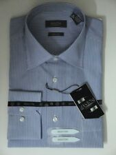 MANTONI MEN DRESS SHIRT WHITE BLUE STRIPES L 16.5 34 35