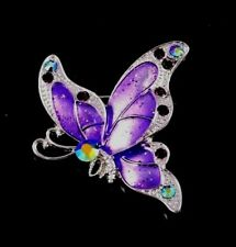 PURPLE BUTTERFLY BROOCH WITH CZ & RHINESTONE CRYSTALS