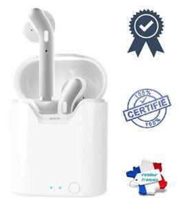 Écouteurs Stéréo Bluetooth Wireless Avec Microphone Sans Fil (Blanc / Gris)