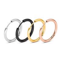 Unisex Fashion Stainless Steel Tube Round Circle Ear Stud Hoop Earrings Jewelry