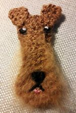 AIREDALE TERRIER KNITTED BROOCH