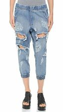 $130 One Teaspoon Cobain Dundees Cropped Jogger Pants freebird distressed Shorts