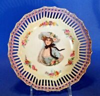 Reticulated Bowl With A Lady In A Blue Hat  - White And Purple Luster - Germany