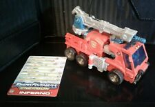 INFERNO 2004 Transformers Energon Fire Engine Complete with Stat Card