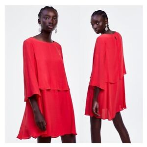 RED FLOWY ZARA DRESS WITH CAPE SLEEVES SIZE SMALL