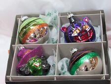 Radko Shiny Brite Halloween Set of 4 Ornaments XL, WITCH CAT BALLS