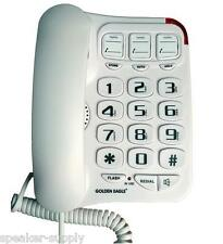 Big Button Corded Wall Desk Phone Speakerphone White Line Bell Powered Gee3104Wh