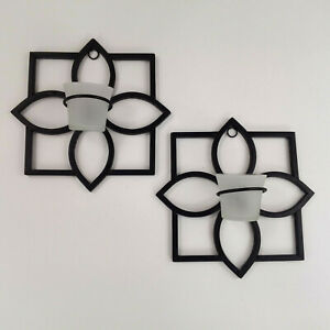 Black Iron Modern Sconce Wall Candle Holders Frosted Glass Candle Holders Set 2