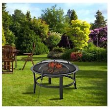 """Portable Round Fire Pit 28"""" + Cover Outdoor Garden Steel Patio Heater Bowl Lid"""