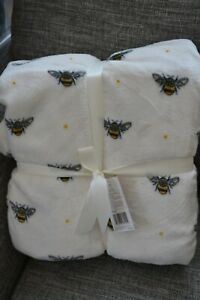 KING Size IVORY Bumble Bee BLANKET throw  ideal Sofa or Bed Blanket 220 x 200 cm