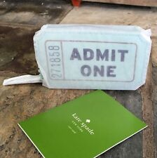 "Kate Spade New York ""ADMIT ONE"" Flavor Of Month Aqua Ticket Zip COIN Purse, NWT"