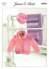 James C. Brett JB354 Knitting Pattern Jacket Hat & Blanket in Baby Marble Chunky