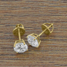 1 Carat VVS1 Round Diamond 14K Yellow Gold Women Stud Earrings