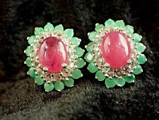 NATURAL RED RUBY,GREEN EMERALD, WHITE TOPAZ EARRINGS 925 STERLING SILVER   #180