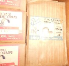 """25 Pc LOT 1-1/2"""" NEW One Hole RIGID EMT Conduit CLAMP Steel CLICK-ON Strap NOS"""
