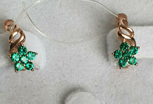 Silver 925 rose gold 585 plated lab nano emerald small KIDS earrings  NWT