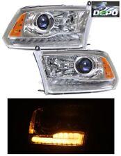 2009-2012 Dodge Ram 1500 Single Lamp CHROME Projector Head Lights DEPO LED DRL