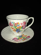 Vintage Mayfair Fine Bone China Staffordshire England Tea Cup Saucer Pink Tulip