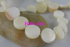 2 strands White flat Round Shell loose beads 8mm M871