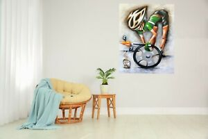 Bicycling Bikes Eric Flat Framed canvas wall décor art print  painting signed