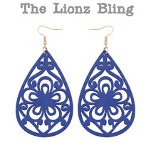 """Blue stain Wood Scroll Flower Filigree Teardrop Dangle Earrings - 3 1/2"""" Drop"""