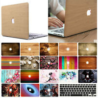 """Wood Pattern HardShell Case+Keyboard Cover for Macbook Pro 13/15"""" Air 13.3"""" 2018"""