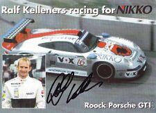1997 Ralf Kelleners signed Nikko Porsche 911 GT1 FIA GT postcard