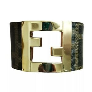 Authentic Pre-owned Fendi Zucca Cuff Bracelet Brown and Black