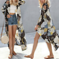 Women's Silk Bride Loose Blouse Summer Chiffon Shawl Kimono Long Sleeve Bathrobe