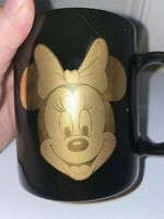 Walt Disney Gold Minnie Mouse 12oz Coffee Mug- Black- Preowned