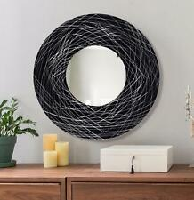 Round Black & Silver Modern Abstract Metal Wall Art Mirror Sculpture - Jon Allen