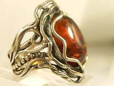 OR PAZ Honey AMBER RING Sterling Handcrafted Sz 8 WIDE ISRAEL Designer Ornate