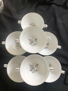 VINTAGE NORITAKE MARGOT SET OF 7 PRETTY WHITE WITH PINK ROSES SOUP COUPES BOWLS