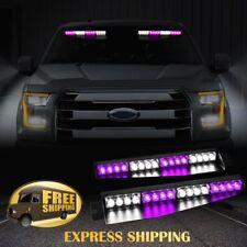 """34"""" 32 LED Car Emergency Warning Visor Split Deck Strobe Light Bar Purple White"""