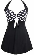 TDOLAH Ladies Retro Polka Swimming Costume Dress Plus Size One Piece Swimwear...