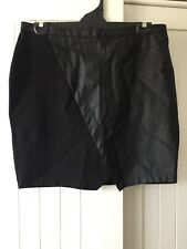 Witchery Above Knee/Mini Black Contrast Skirt Size 16 AU
