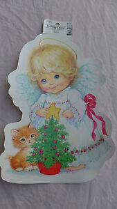 Christmas Angel Kitten Cat Tree Paper Wall Decor Die Cut 1996 Vintage NEW Gibson